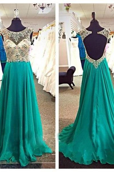 Scoop Neck Long Green Chiffon Prom Dresses Crystals Women party Dresses