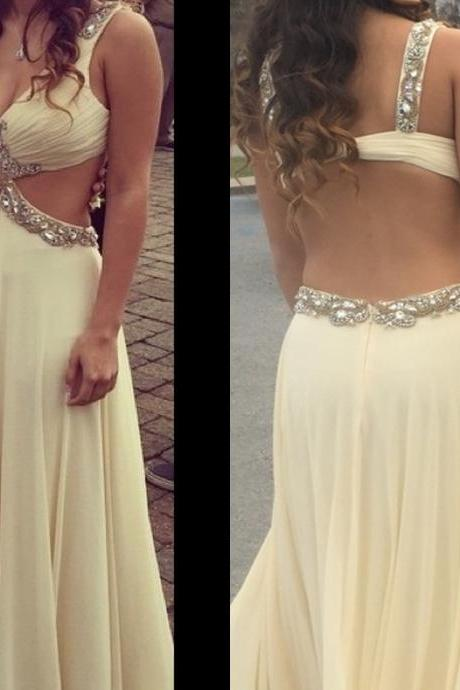 O-neck White Long Chiffon Prom Dresses with Crystals