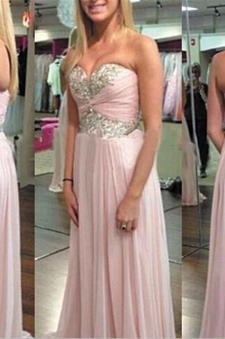 Sweetheart Neck Long Chiffon Prom Dresses Sweetheart neck Crystals Dresses