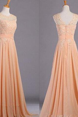 O-neck Long Chiffon Prom Dresses with lace Appliques Custom Made Party Dresses