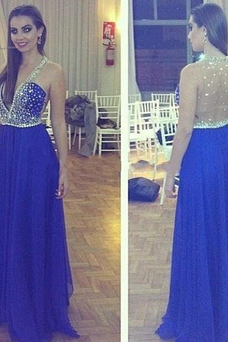 V-neck Royal Blue chiffon Prom Dresses with Crystals Floor Length Party Dresses