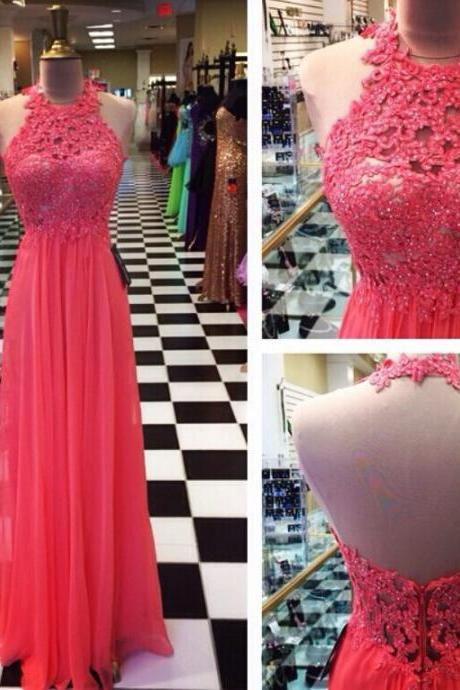 Halter Neck Red Chiffon Prom Dresses with Lace Appliques