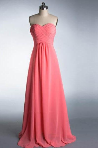 Simple Chiffon Evening Gowns Sweetheart neck Women Party Dresses