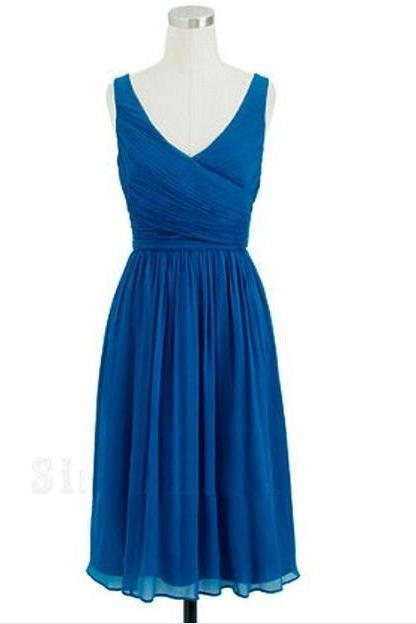 V-neck Short Chiffon Homecoming Dresses Knee Length Pleat Women Dresses