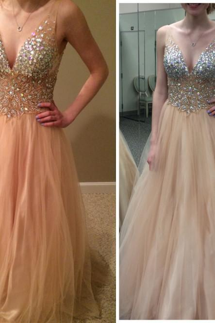 Deep V-neck Tulle Prom Dresses with Crystals Floor Length Party Dresses