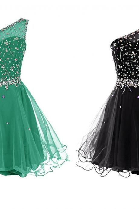 One Shoulder Short Tulle Homecoming Dresses Crystals Women Dresses