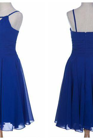Royal Blue Chiffon Homecoming Dresses Spaghetti Straps Women Party Dresses