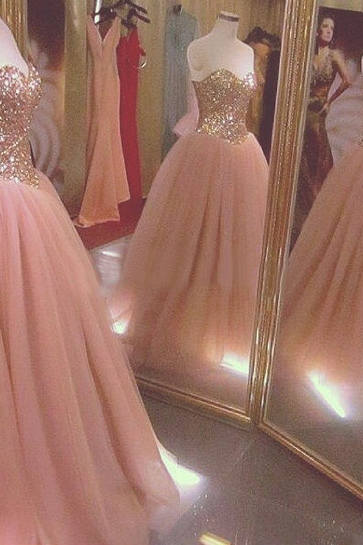Ball Gown Tulle Prom Dresses Sweetheart Crystal Women Dresses