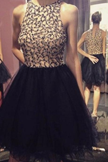 Short Tulle Homecoming Dresses Scoop Neck Black Women Party Dresses