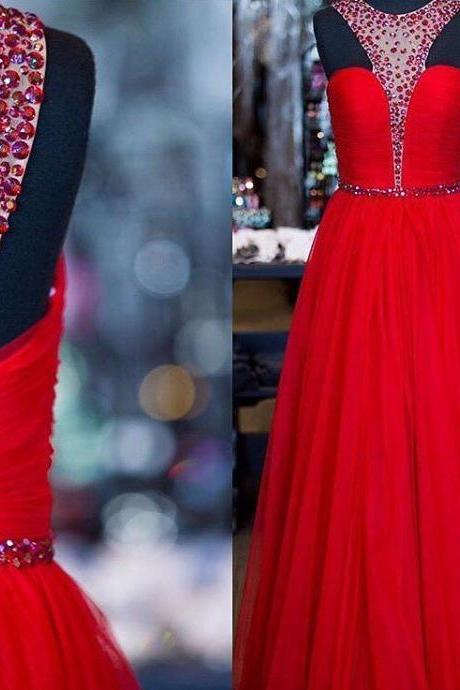 O-neck Long Tulle Prom Dresses with Crystals Floor Length Party Dresses Custom Made 2016