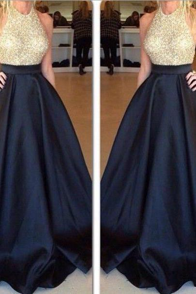 O-neck Black Satin Prom Dresses Crystals Women Party Dresses