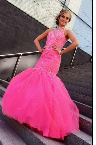 Halter Neck Mermaid Tulle Prom Dresses Crystals Women party Dresses