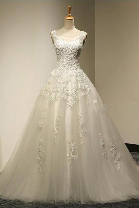 Scoop neck A-line Tulle Wedding Dresses Lace Appliques Women Bridal Gowns