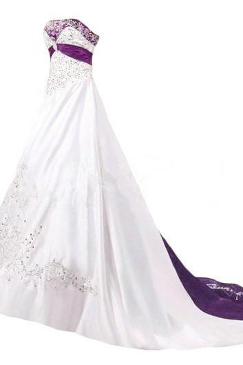 Embroidery Satin Wedding Dresses Crystals Women Bridal Gown