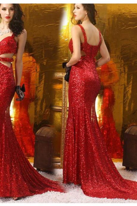 Mermaid Sequin Lace Red Prom Dresses Spaghetti Straps Women Party Dresses