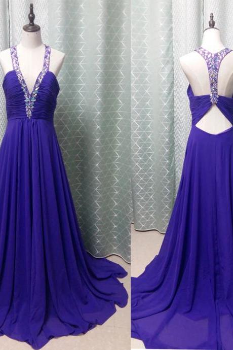 V-neck Long Chiffon Prom Dresses Crystals Purple Party dresses