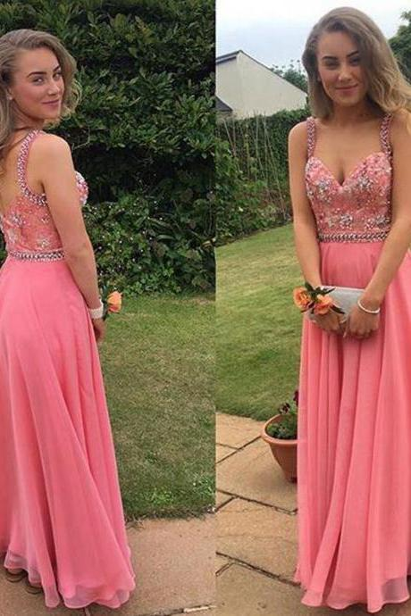 Long Chiffon Prom Dresses Crystals Women party Dresses