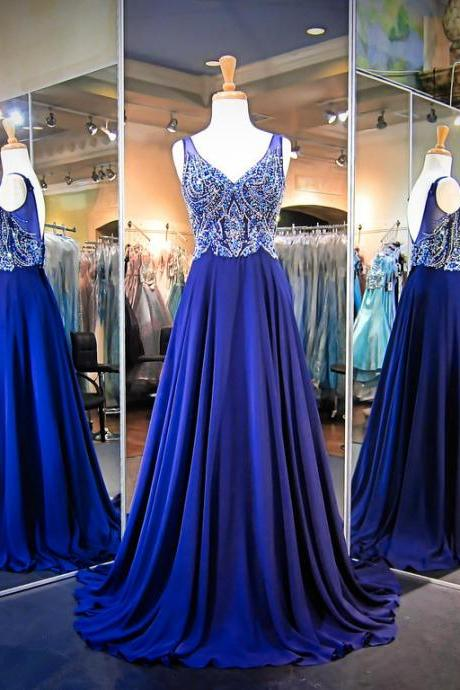 V-neck Blue Chiffon Prom Dresses Crystal Women Party Dresses