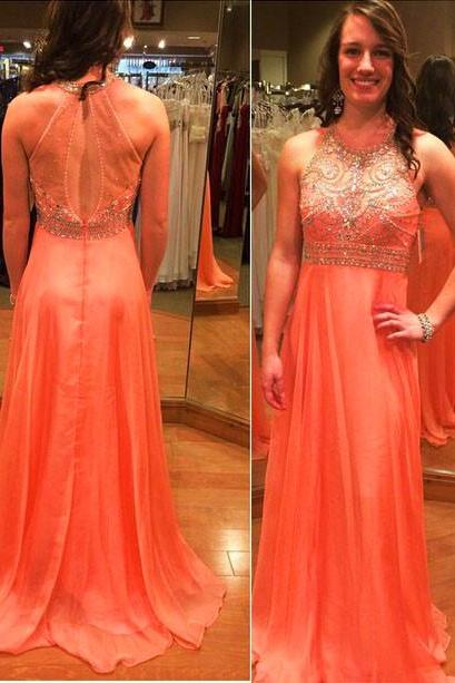 Scoop Neck Long Chiffon Prom Dresses Crystals Beaded Party Dresses Floor Length Women Dresses