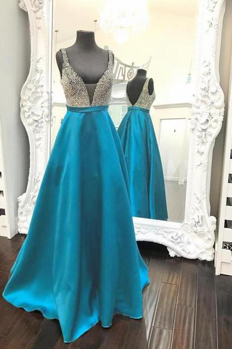 V-neck Satin Prom Dresses Crystals Women Party Dresses