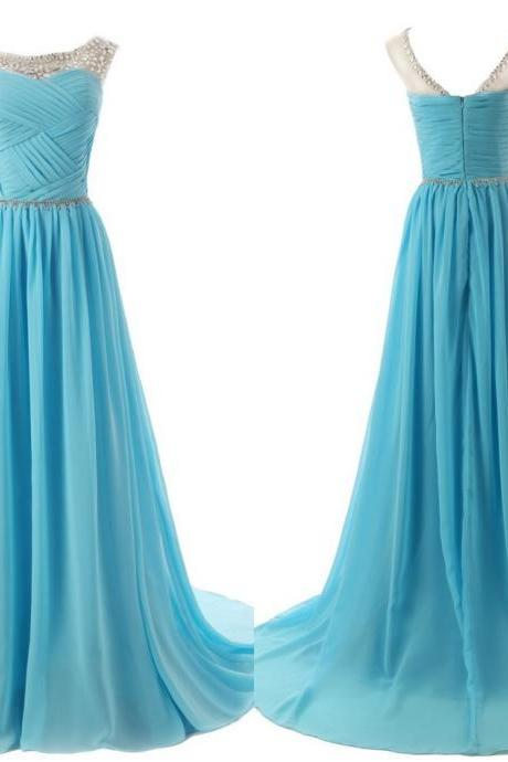 Scoop Neck Long Chiffon Prom Dresses Crystals Women Party Dresses