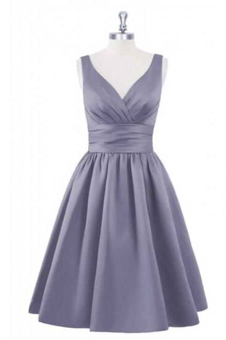 Short Satin Homecoming Dresses Pleat Women Party Dresses