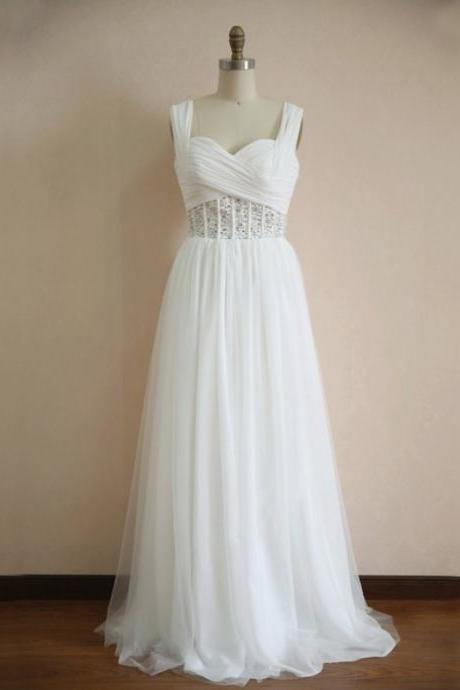 White Chiffon Prom Dresses Spaghetti Straps Pleat Women Party Dresses
