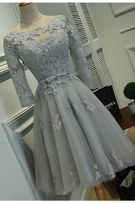 Light Grey Tulle Homecoming Dresses Lace Appliques Women party Dresses