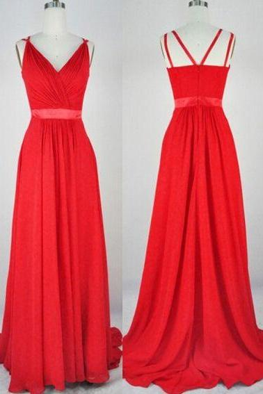 Dark Red Long Chiffon Prom Dresses Pleat Women Party Dresses