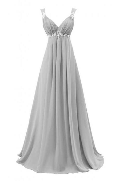 light grey Chiffon prom Dresses Crystals Women Party Dresses