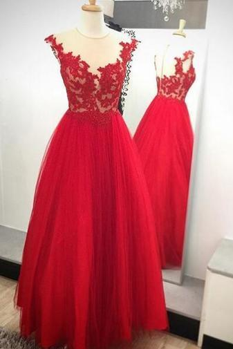 Dark Red Tulle Prom Dresses Lace Appliques Women Party Dresses