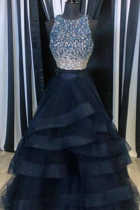 Charming Tulle Prom Dresses, Crystals Women party Dresses, Scoop Neck Prom Dresses 2017