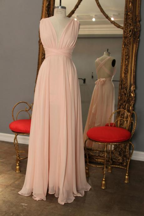 Chiffon prom Dresses, Deep V-neck Prom Dresses, Pleat Women party Dresses, Custom Made Prom Dresses 2017