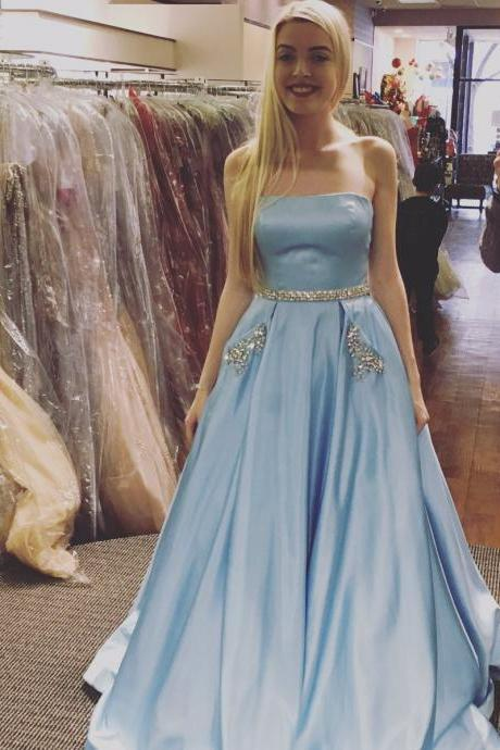 Strapless Satin prom Dresses, Crystal Prom Dresses, Long Satin Dresses, Custom Made Prom Dresses 2017