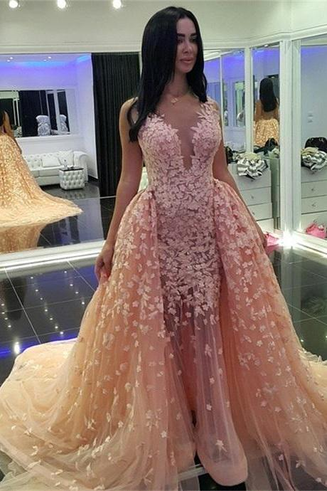 Flower Appliques Tulle Prom Dresses Scoop neck Women Party Dresses