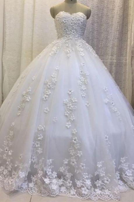 Ball Gown Tulle Wedding Dresses Sweetheart White Lace Appliques Women Bridal Gowns
