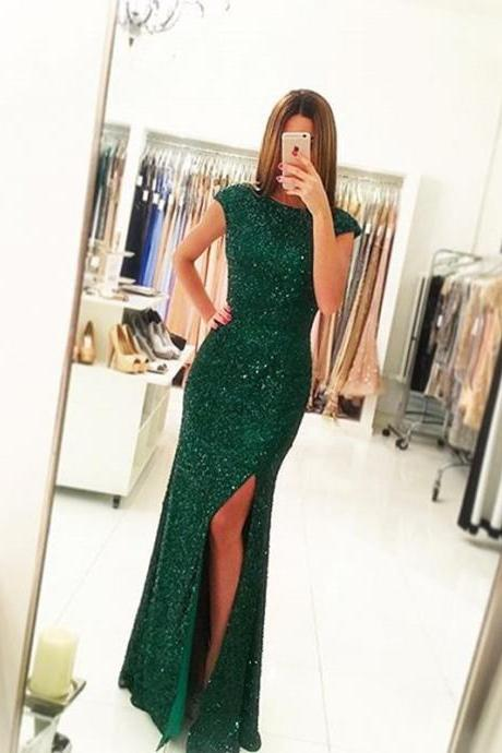 Green Squin Lace Prom Dresses Sheath Women Party Dresses