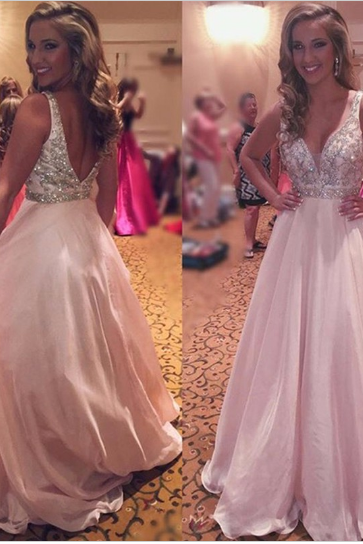 Light Pink Chiffon Prom Dresses, V-neck Crystals Women Party Dresses, Open Back Long Lady Dresses