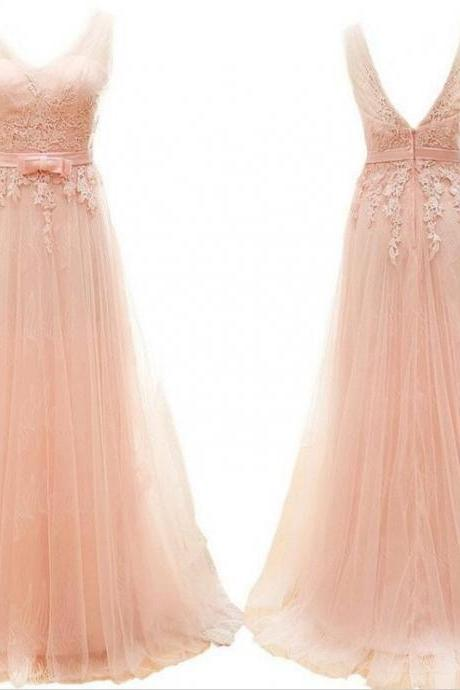 Pink Tulle Prom Dresses, Open Back Lace Prom Dresses, Long Women Party Dresses