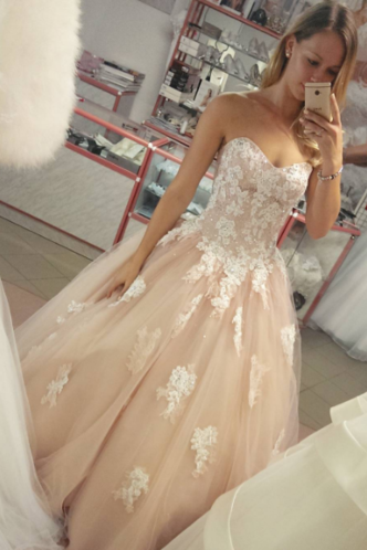 Ball Gown Tulle Prom Dresses, Sweetheart Neck Lace Appliques Women Party Dresses