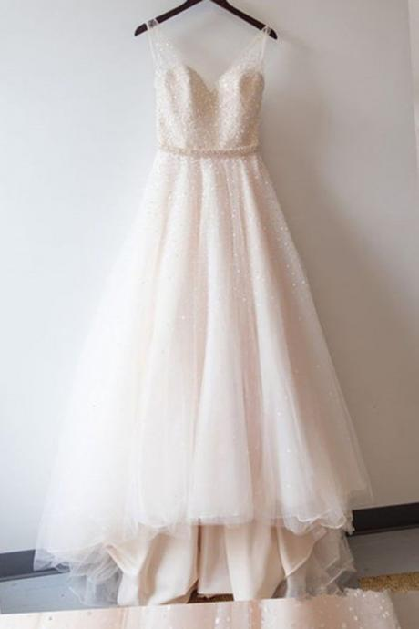 Sweetheart Neck Ivory Tulle Prom Dresses with Crystals