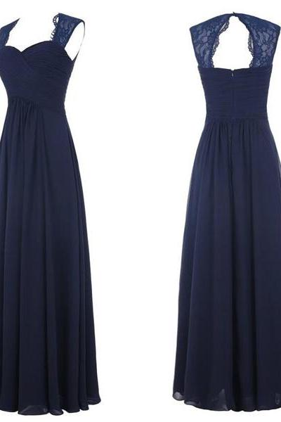 Dark Blue Chiffon Prom Dresses Sweetheart Lace Women Party Dresses