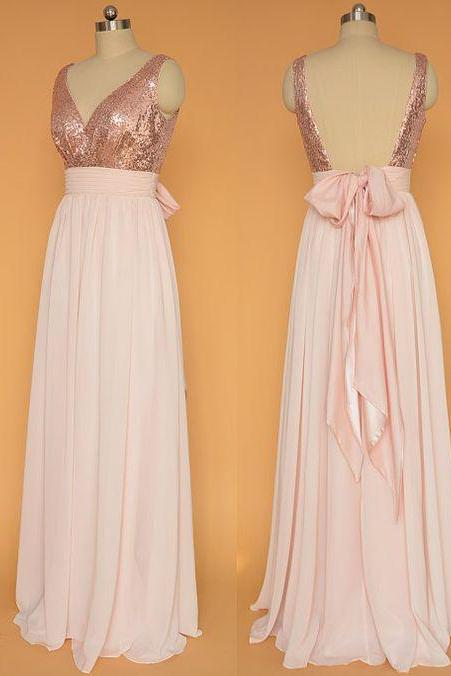 Pink Chiffon Prom Dresses V-neck Sequin Lace Women Party Dresses