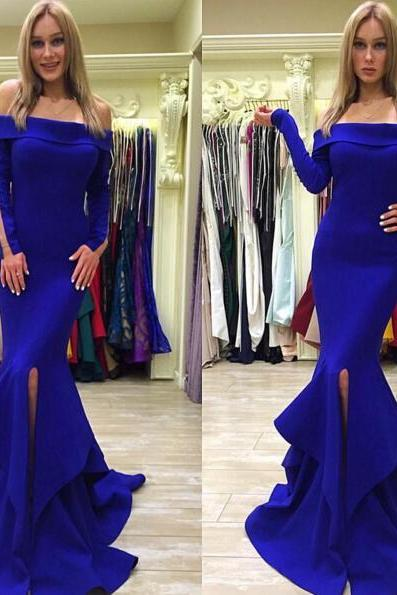 Royal Blue Chiffon Prom Dresses Off Shoulder Long Sleeves Women Party Dresses