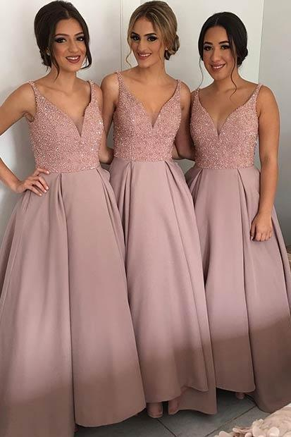 V-neck Long Satin Bridesmaid Dresses with Crystals