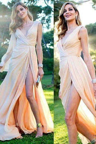 Deep V-neck Chiffon Prom Dresses Pleat Women Party Dresses