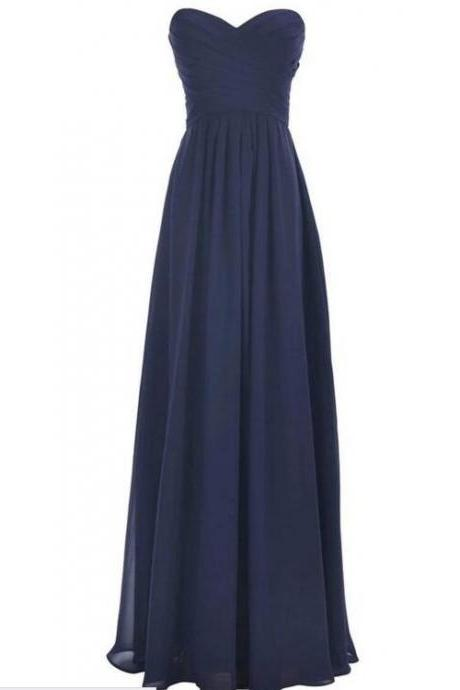 Chiffon Ruched Sweetheart Floor Length A-Line Formal Dress, Prom Dress, Bridesmaid Dress