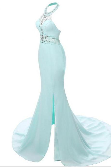 Gorgeous Mermaid Chiffon Prom Dresses Crystals beaded Women Party Dresses