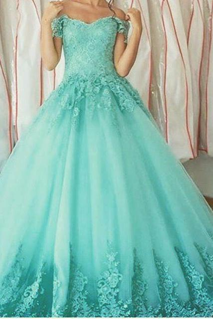 Off Shoulder A-line Tulle Prom Dresses Lace Appliques Women Party Dresses