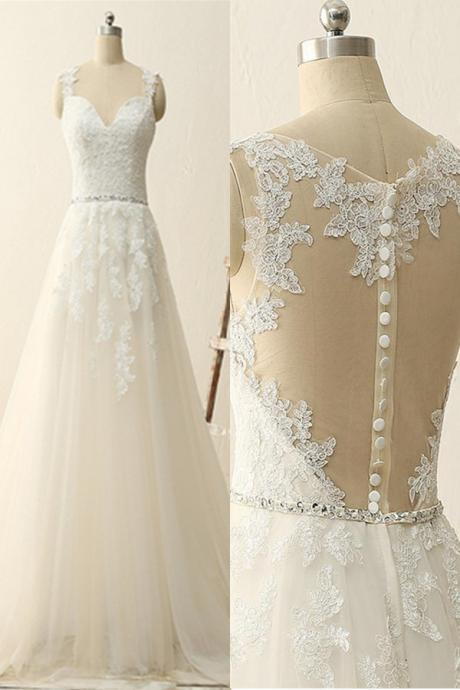 White Tulle Wedding Dresses Lace Appliques Bridal Gowns